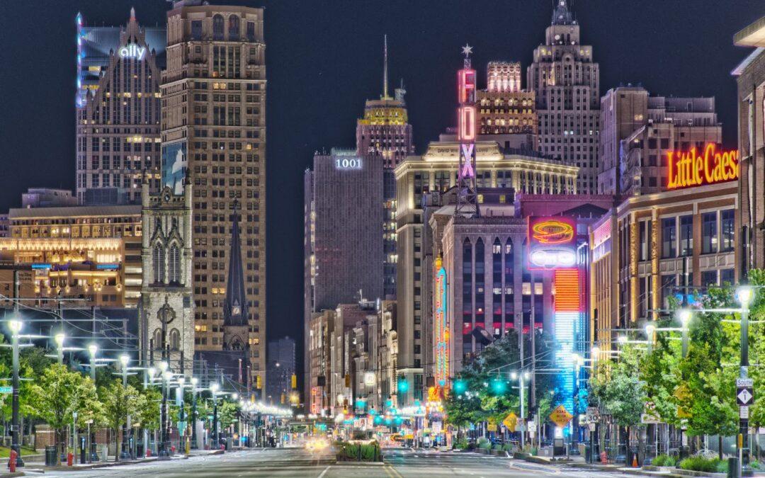 Detroit Skyline from Woodward & Charlotte, 6-18-2020