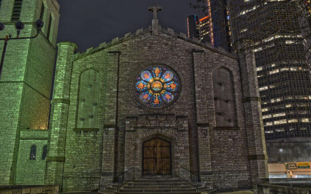 Mariners' Church at Jefferson & Randolph, Detroit; Calvin N. Otis, architect; built 1859, relocated 1955