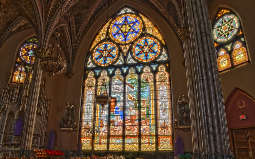 Interior detail of Sweetest Heart of Mary Catholic Church, Canfield & Russell, Detroit; Spier & Rohns, architects; stained glass designed and fabricated by Detroit Stained Glass Works; built 1893