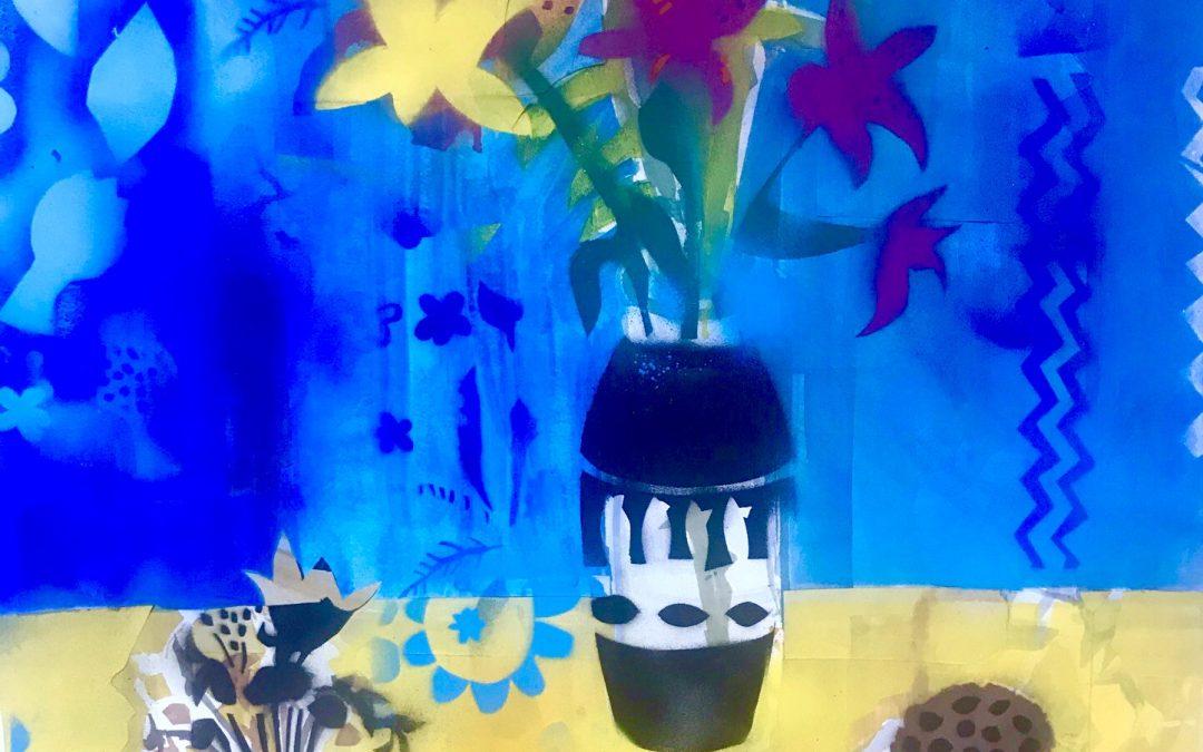 Lillies with Black Vase